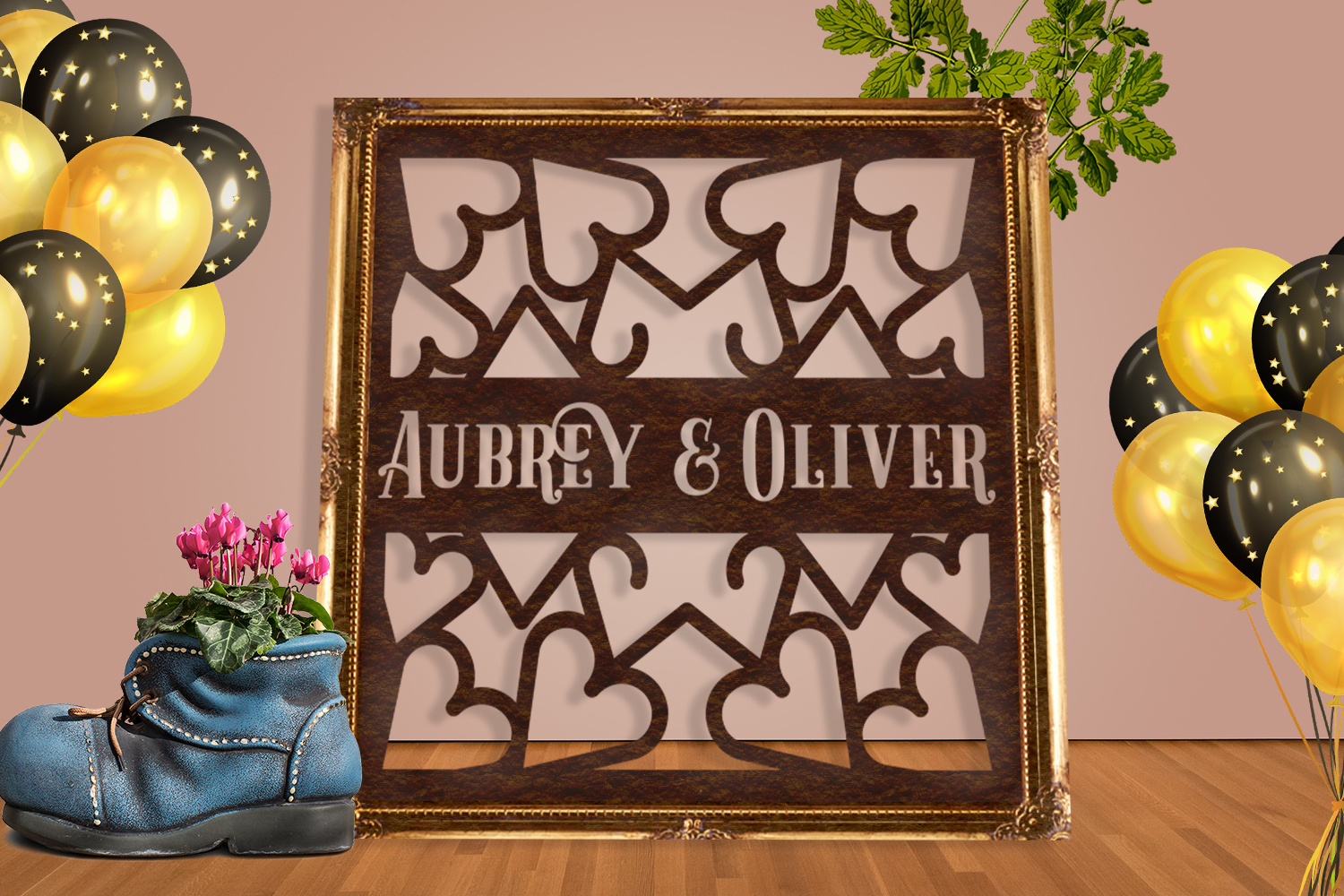 Wedding Hearts Frame Paper Cut SVG, AI, EPS example image 4