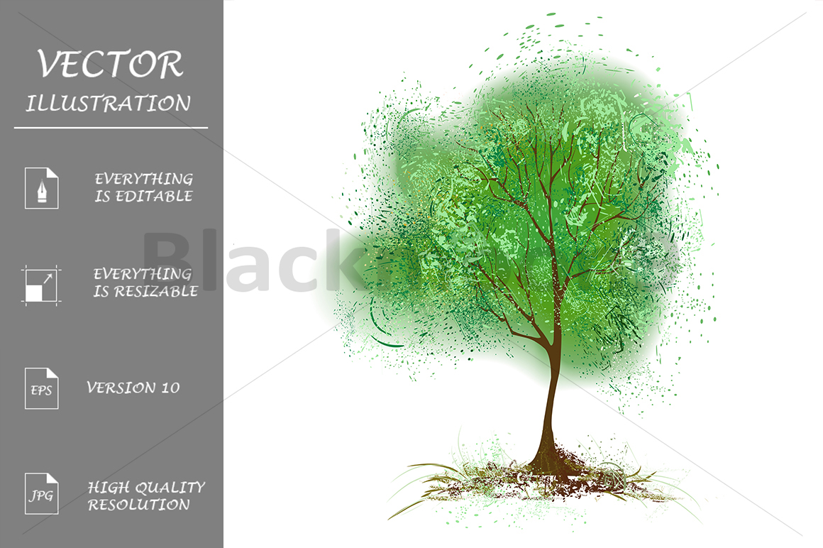 Tree with Leaves Painted with Green Paint example image 1