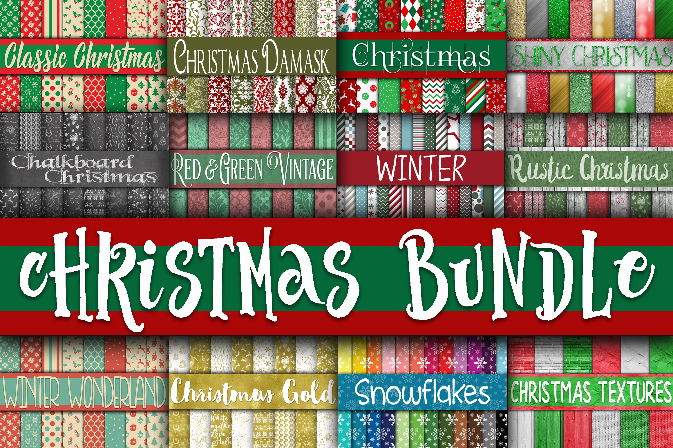 Christmas Bundle - Includes Over 200 Digital Papers example image 13