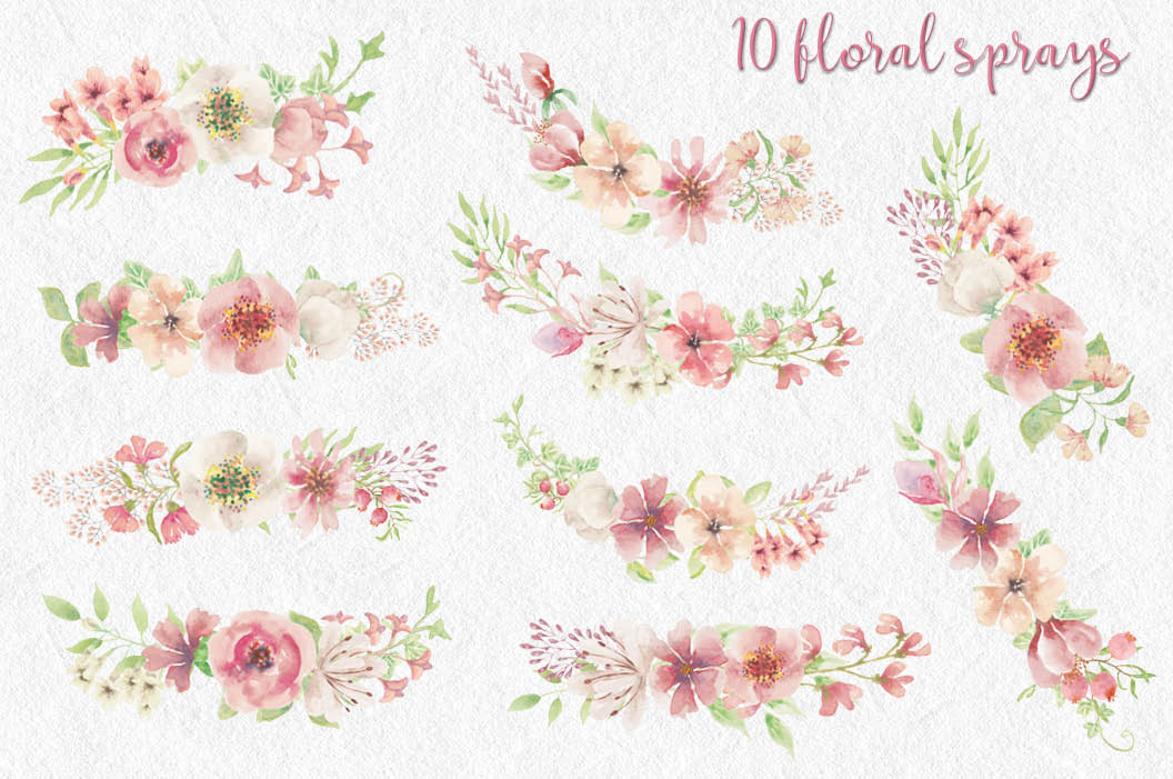 Pink watercolor alphabet, numbers and sprays + FREEBIE! example image 8