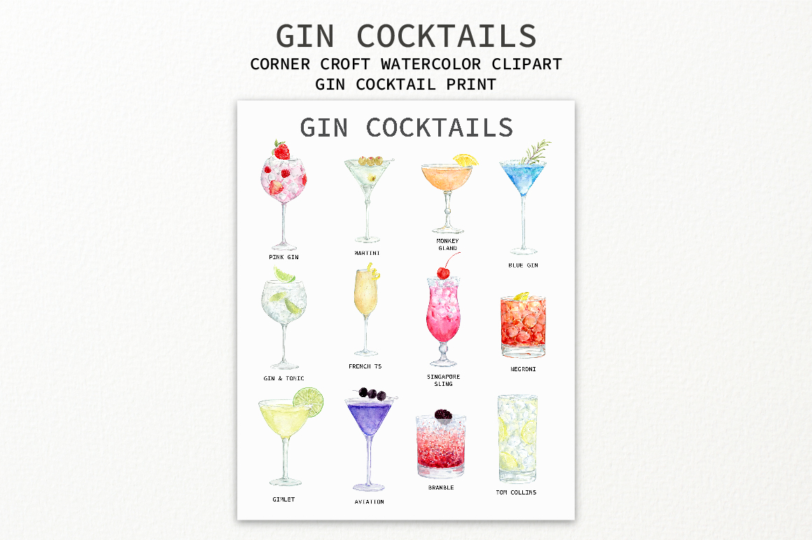 Watercolor Gin Cocktail Illustration and Prints example image 4