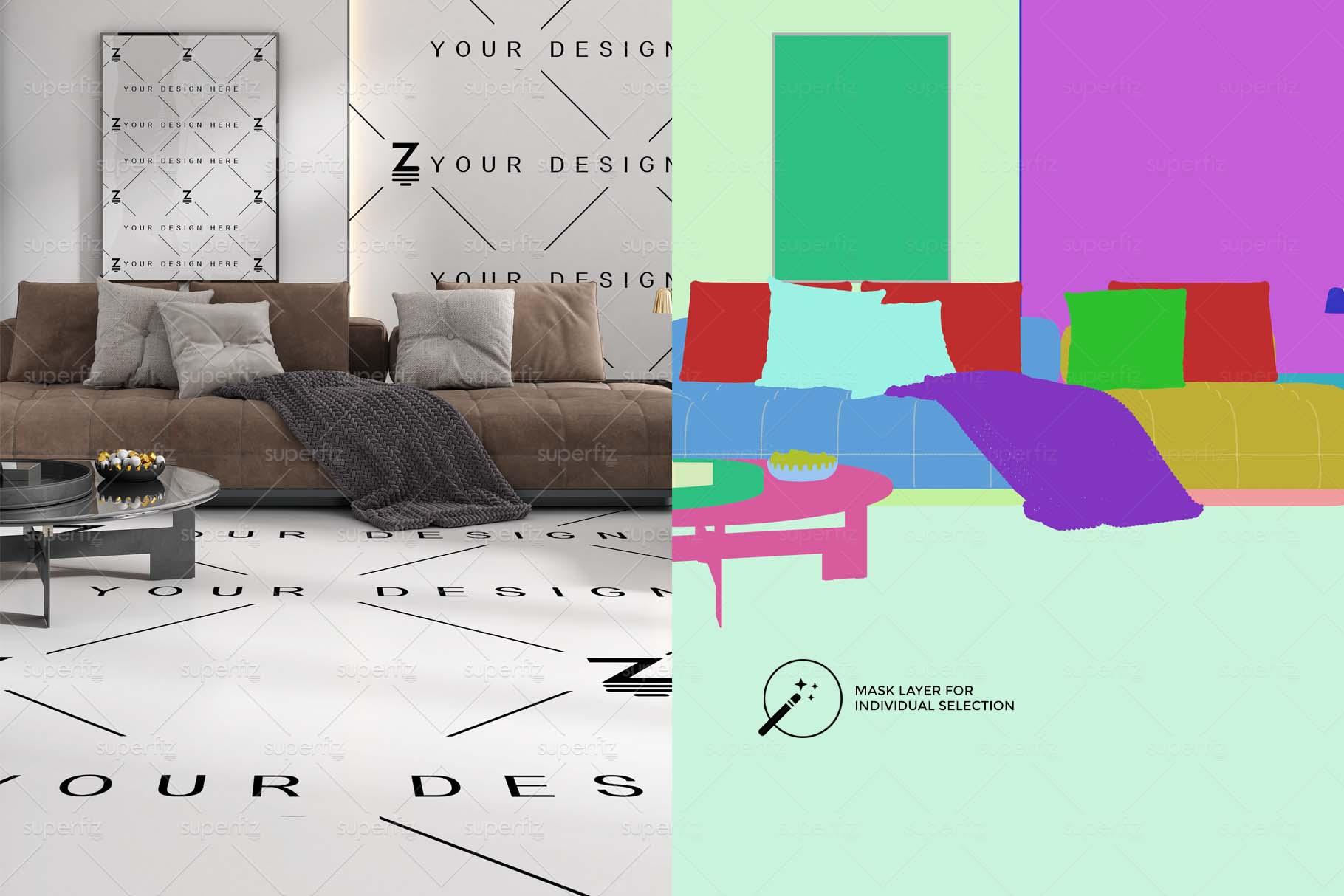 Blank Floor and Wall PSD Mockup Livingroom SM75 example image 3