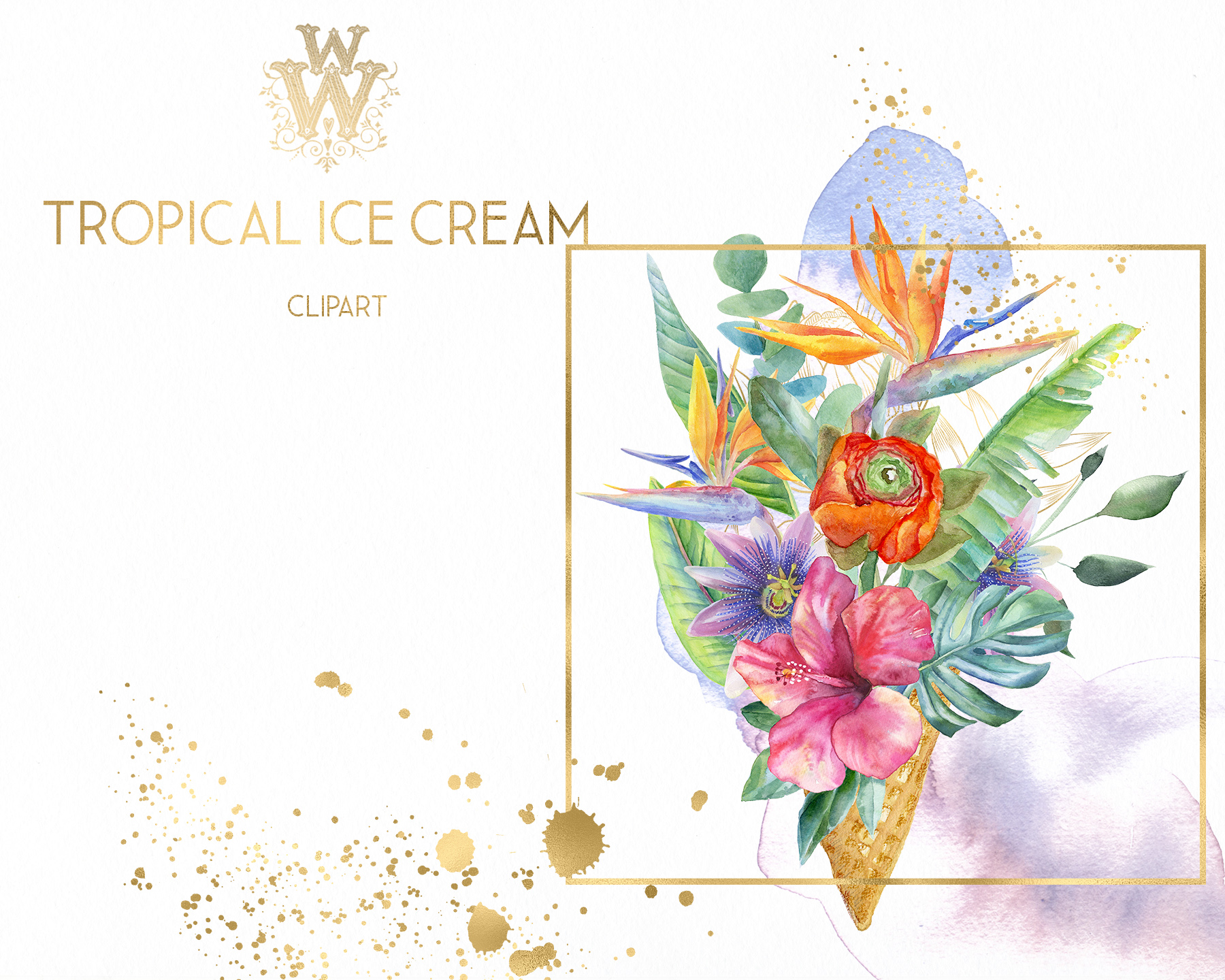Watercolor summer tropical flower clipart, floral Ice Cream example image 6