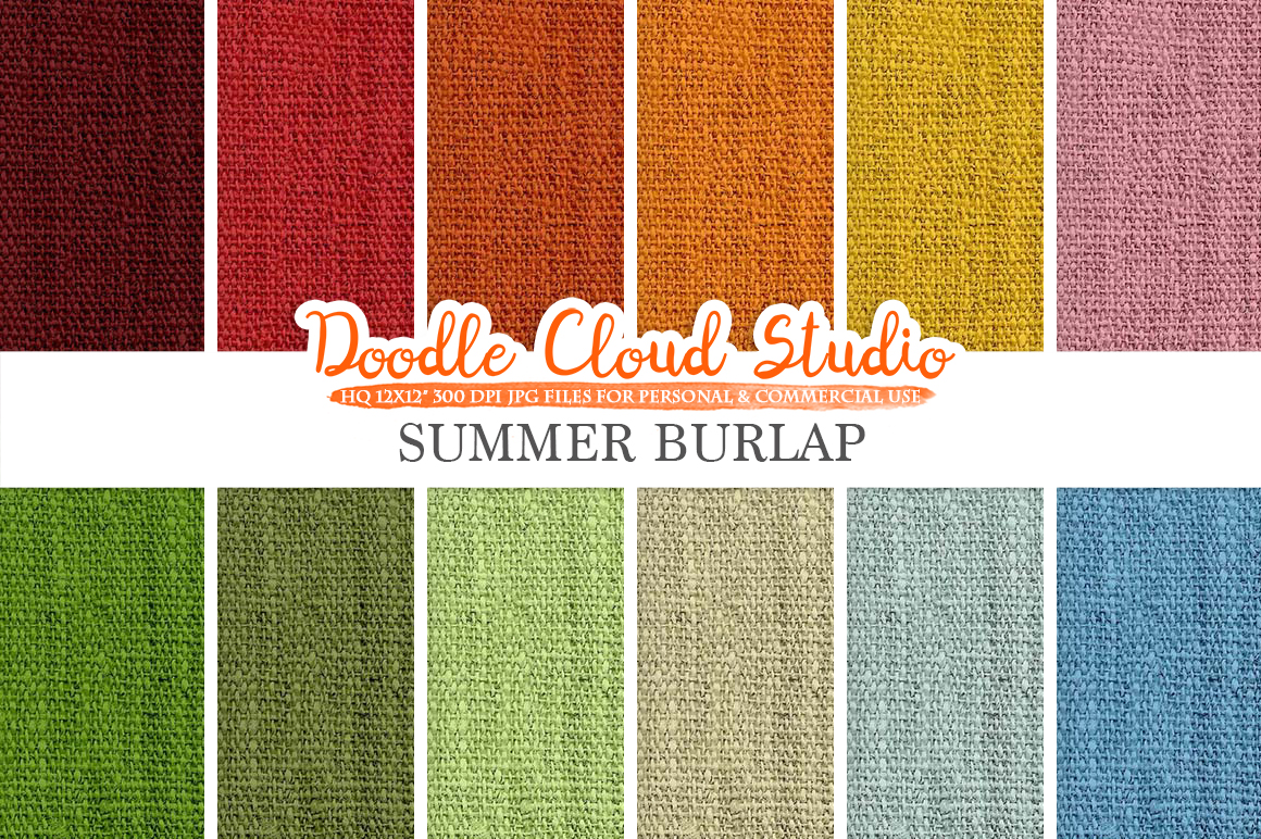 Colorful Summer Burlap Fabric digital paper pack, Colorful Bright Backgrounds, Burlap linen printables, Instant Download for Commercial Use example image 1
