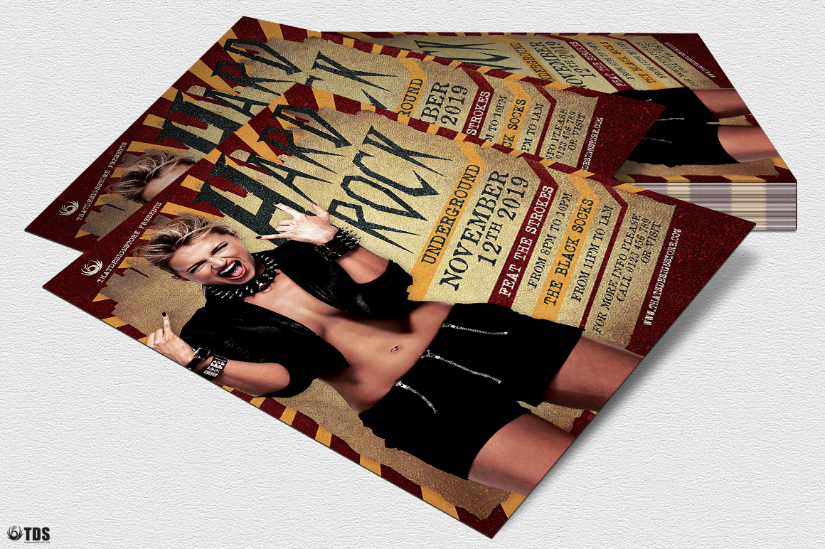 Hard Rock Underground Flyer Template example image 2