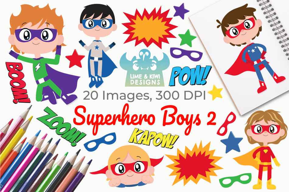 Superhero Boys 2 Clipart, Instant Download Vector Art example image 1