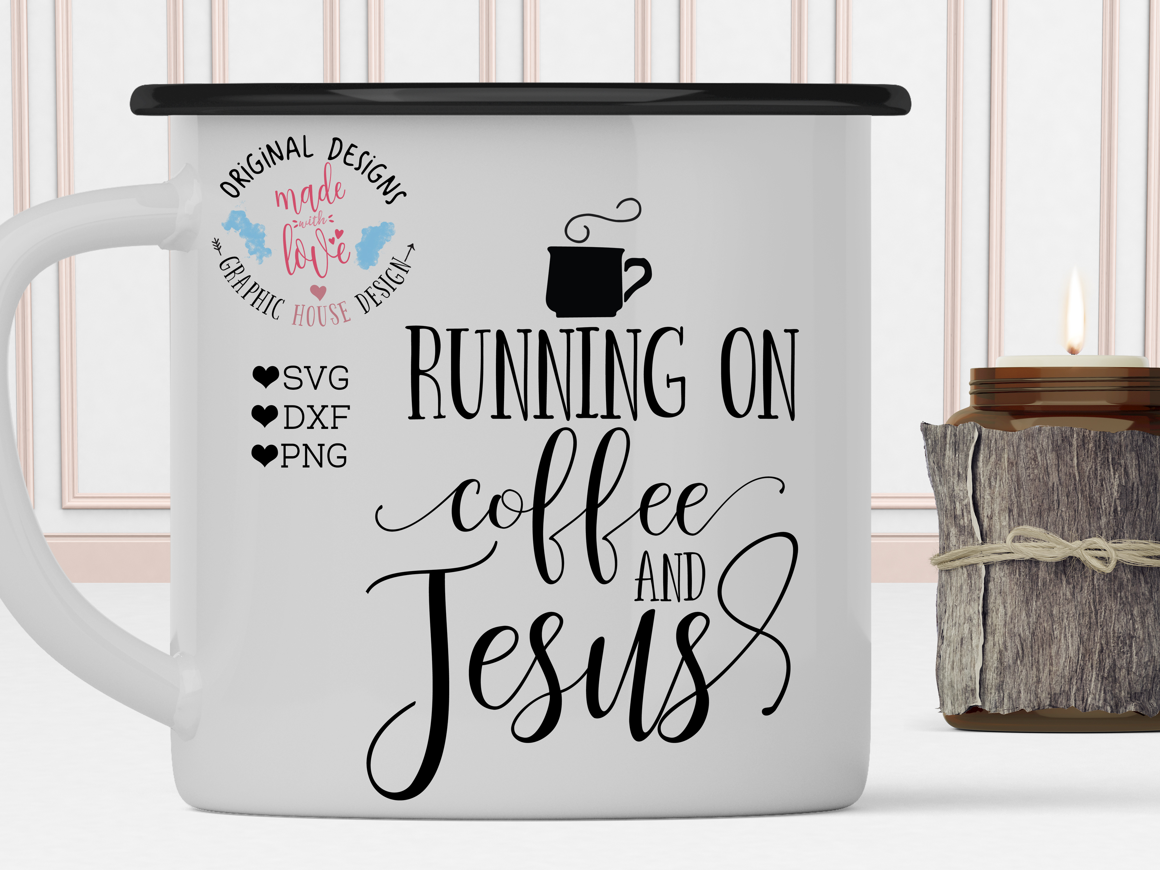 Running on Coffee and Jesus Cutting File (SVG, DXF, PNG) example image 2