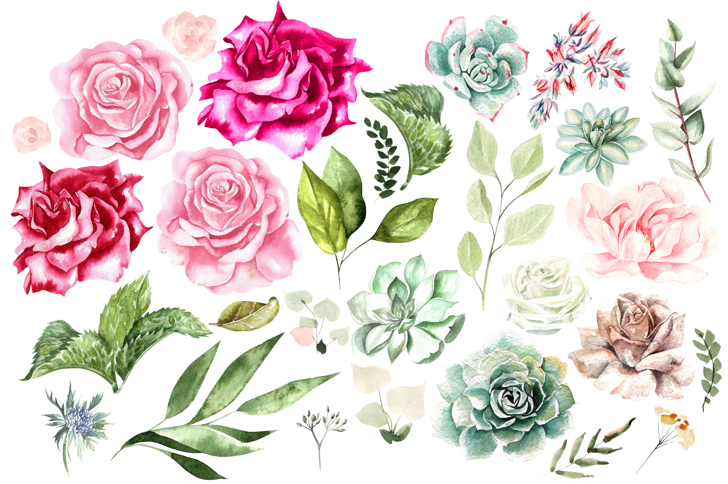 Hand Drawn Watercolor Flowers&Wreath example image 2
