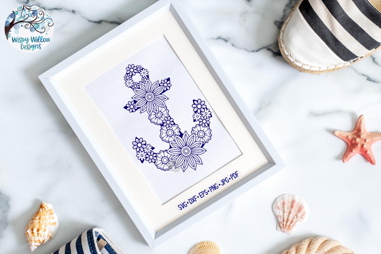 Floral Anchor SVG | Nautical Mandala SVG Cut File example image 2