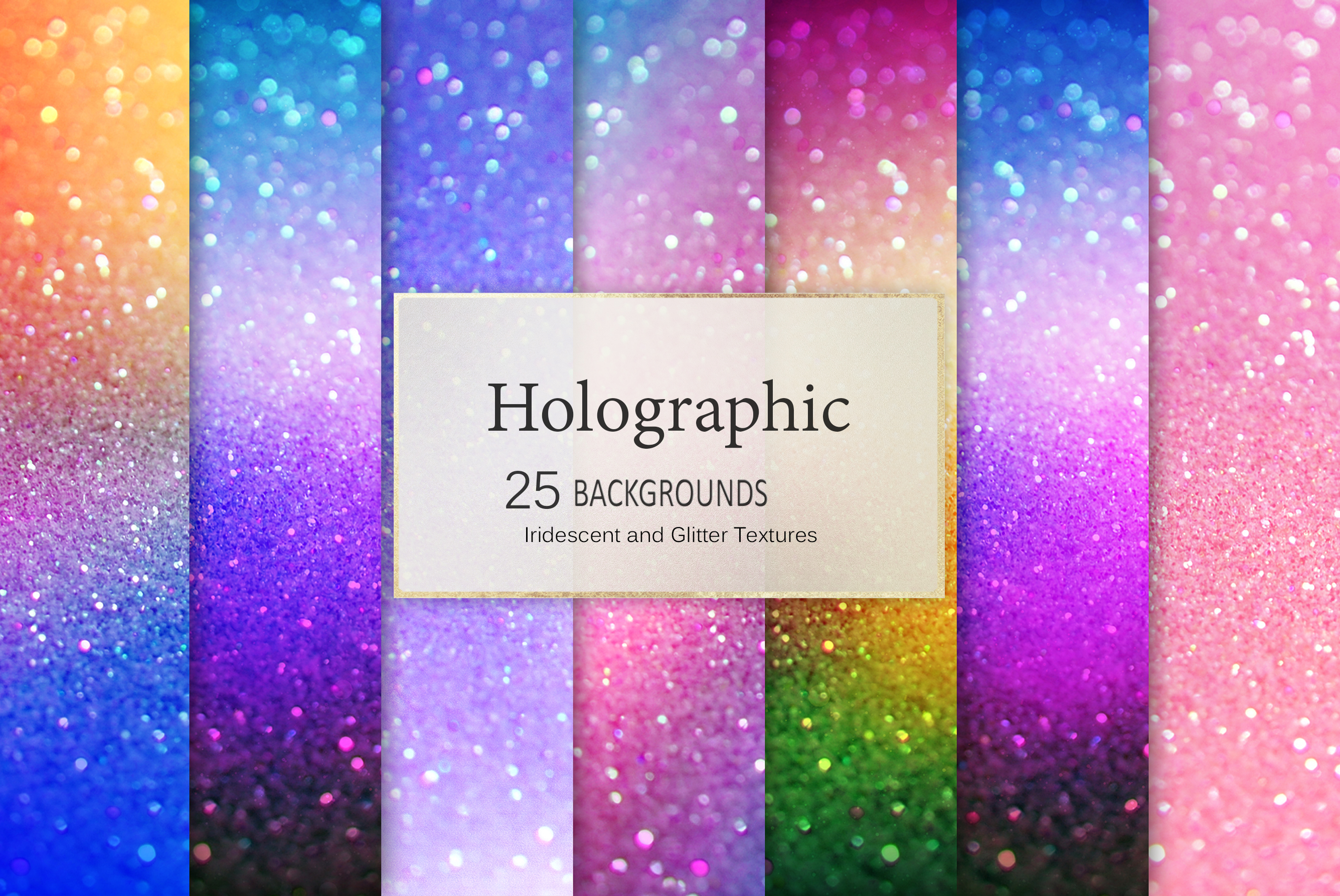 Iridescent 95 Glitter Textures Holographic Backgrounds example image 12