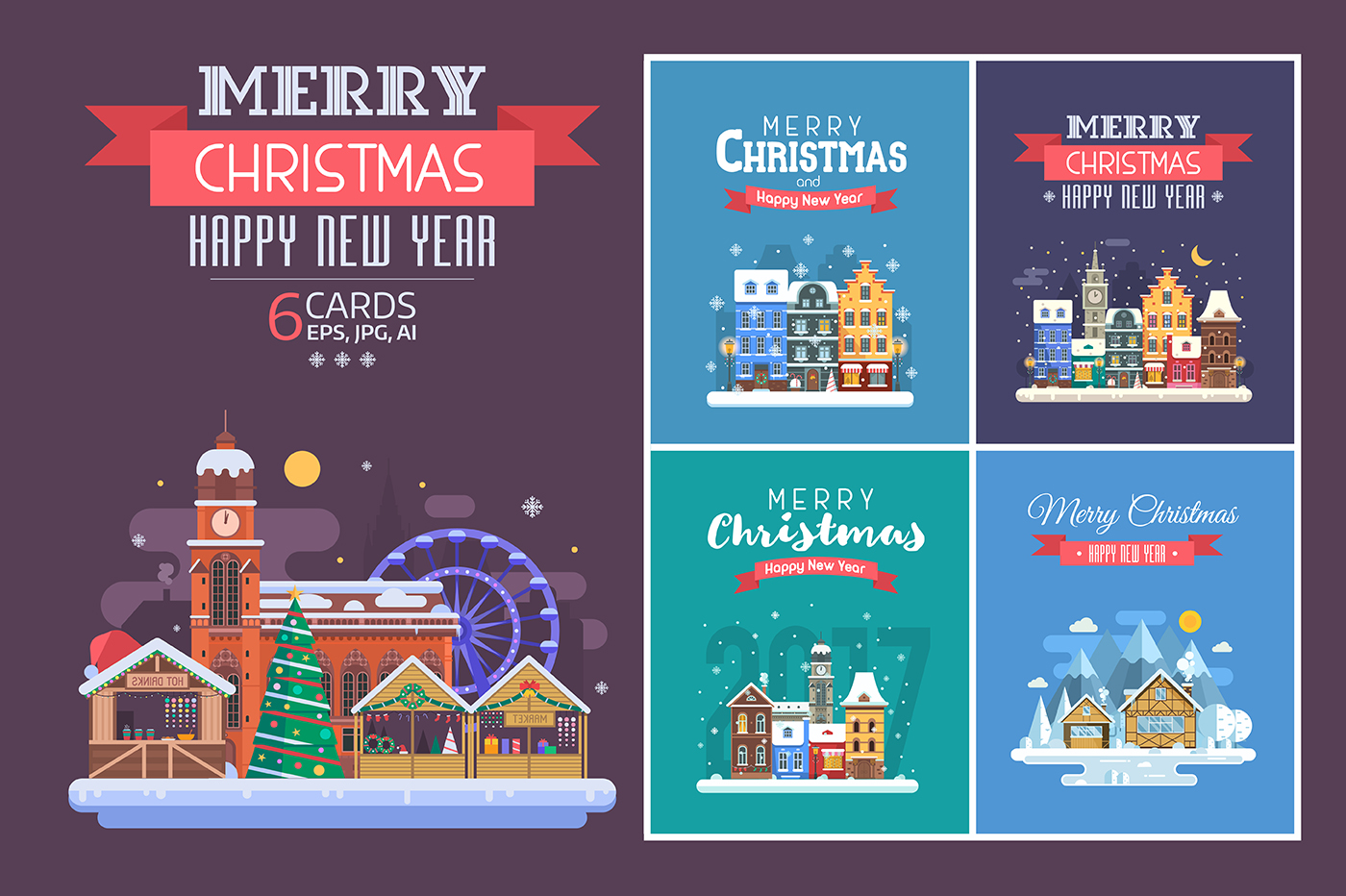 New Year and Christmas Cards with Europe Cities example image 7