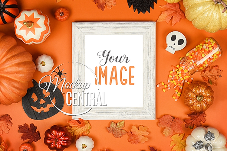 Halloween Frame Mockup Photo Display Background, JPG & PNG example image 1