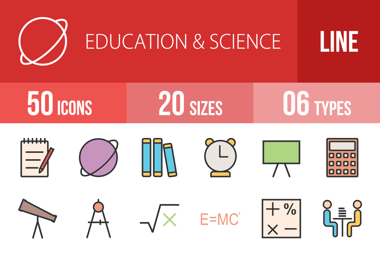 50 Education & Science Linear Multicolor Icons example image 1