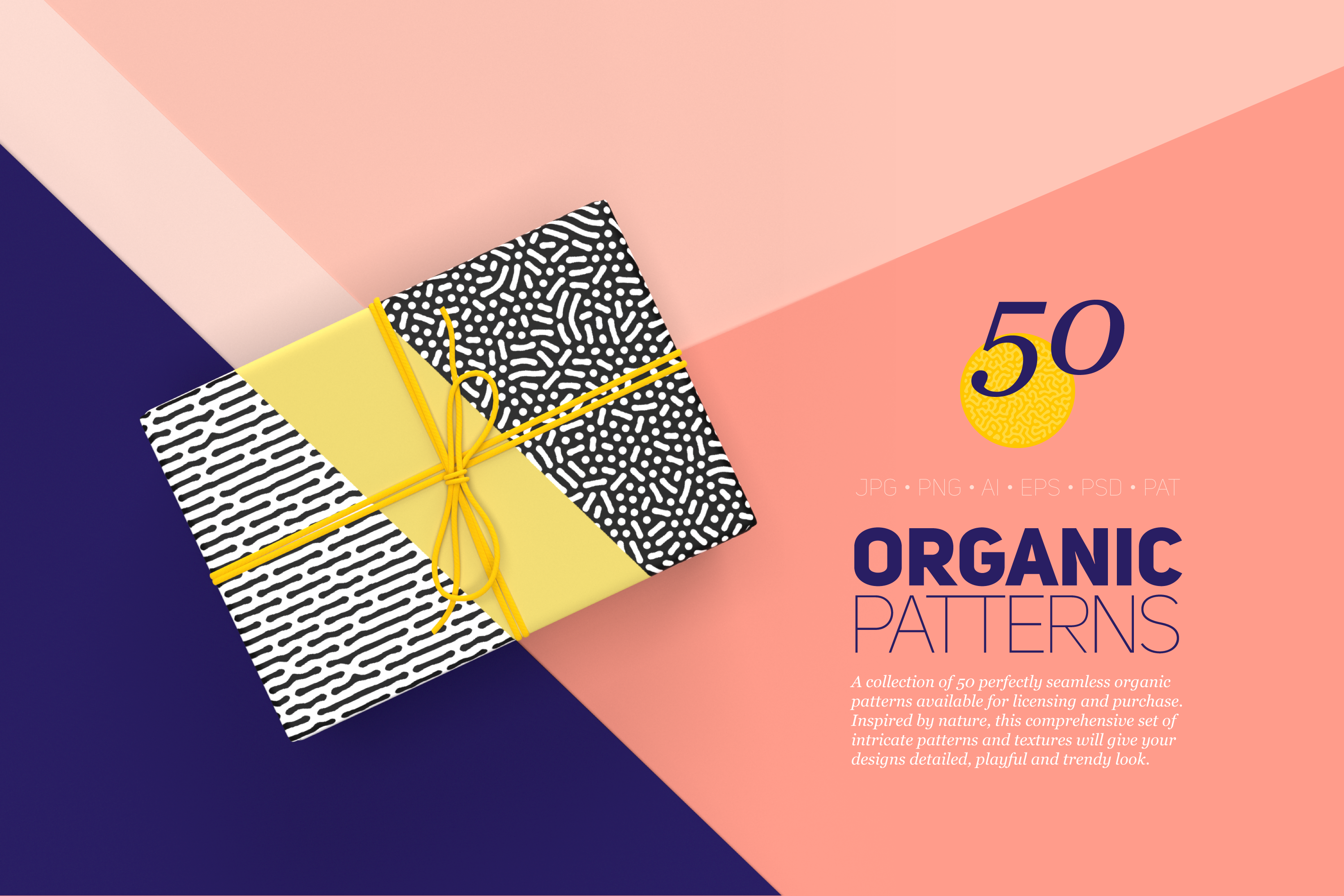 Organic Patterns - 50 trendy seamless textures example image 1