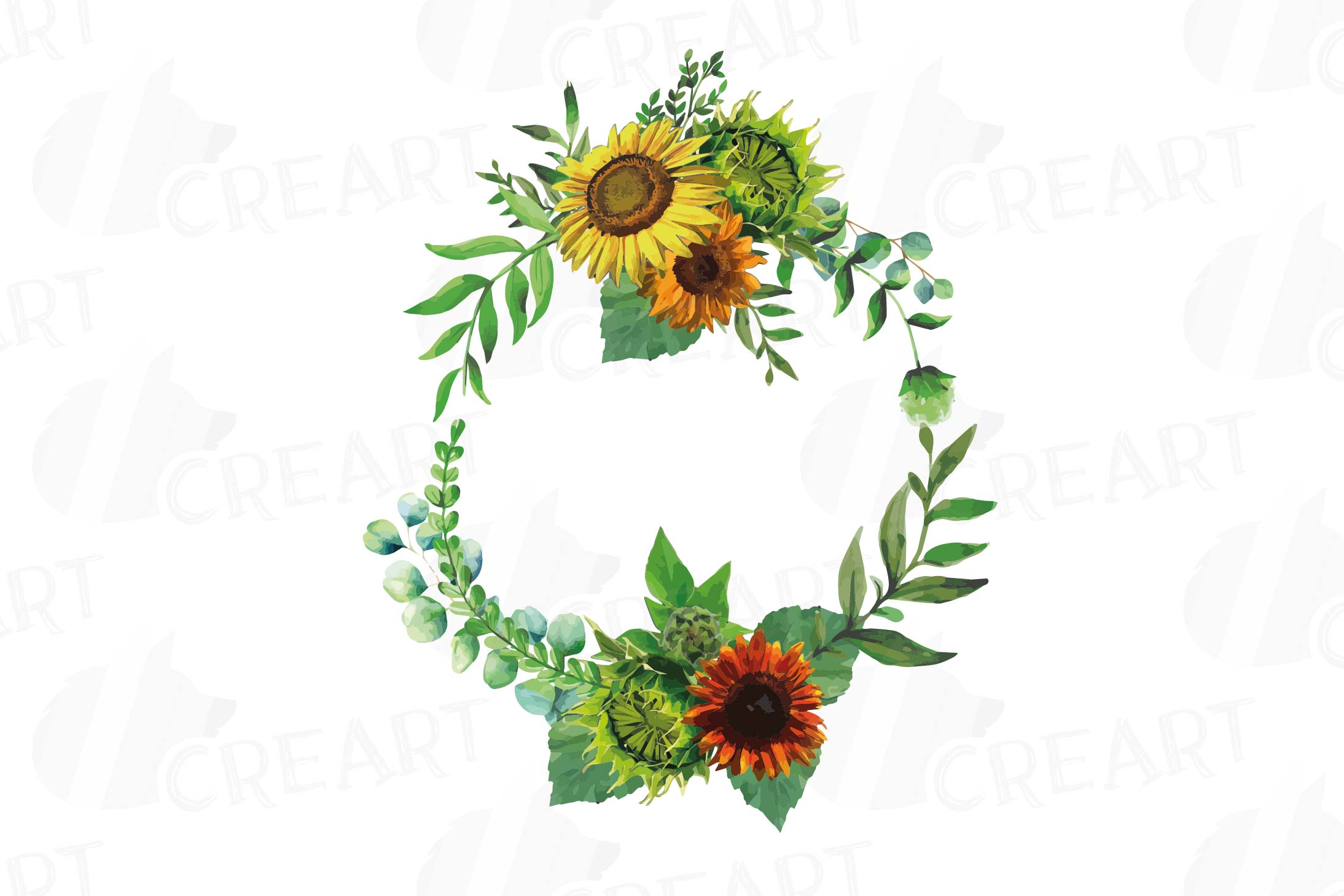 Watercolor sunflower bouquets and design elements example image 12