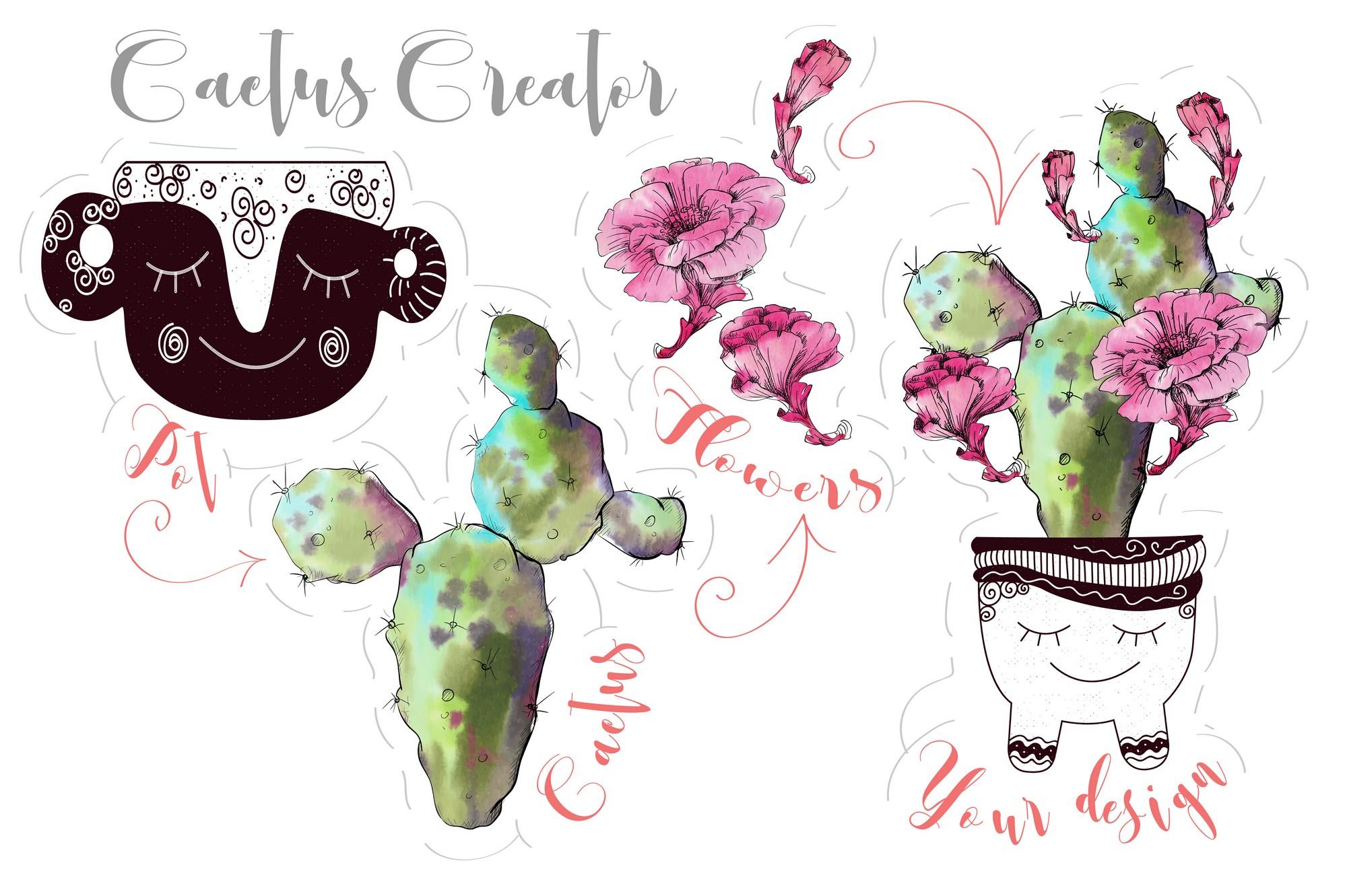Watercolor Cactus Creator Pattern example image 4