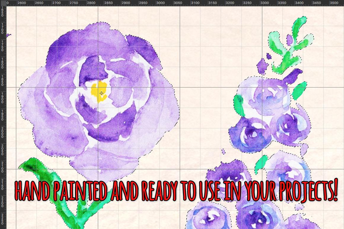 37 Delphinium Flower Hand Painted Watercolour Elements example image 3