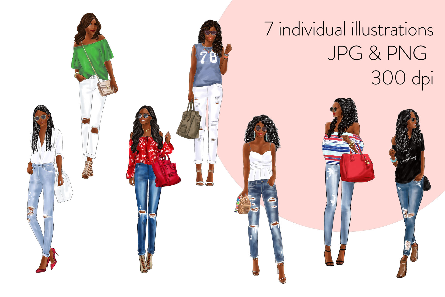 Fashion clipart - Girls in Ripped Jeans - Dark Skin example image 2