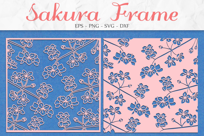 Sakura Flowers Frame svg png dxf eps - Sakura Blossom Frame example image 1