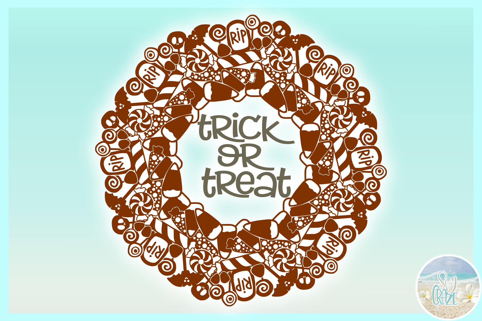Trick or Treat Halloween Candy Mandala Zentangle SVG example image 3