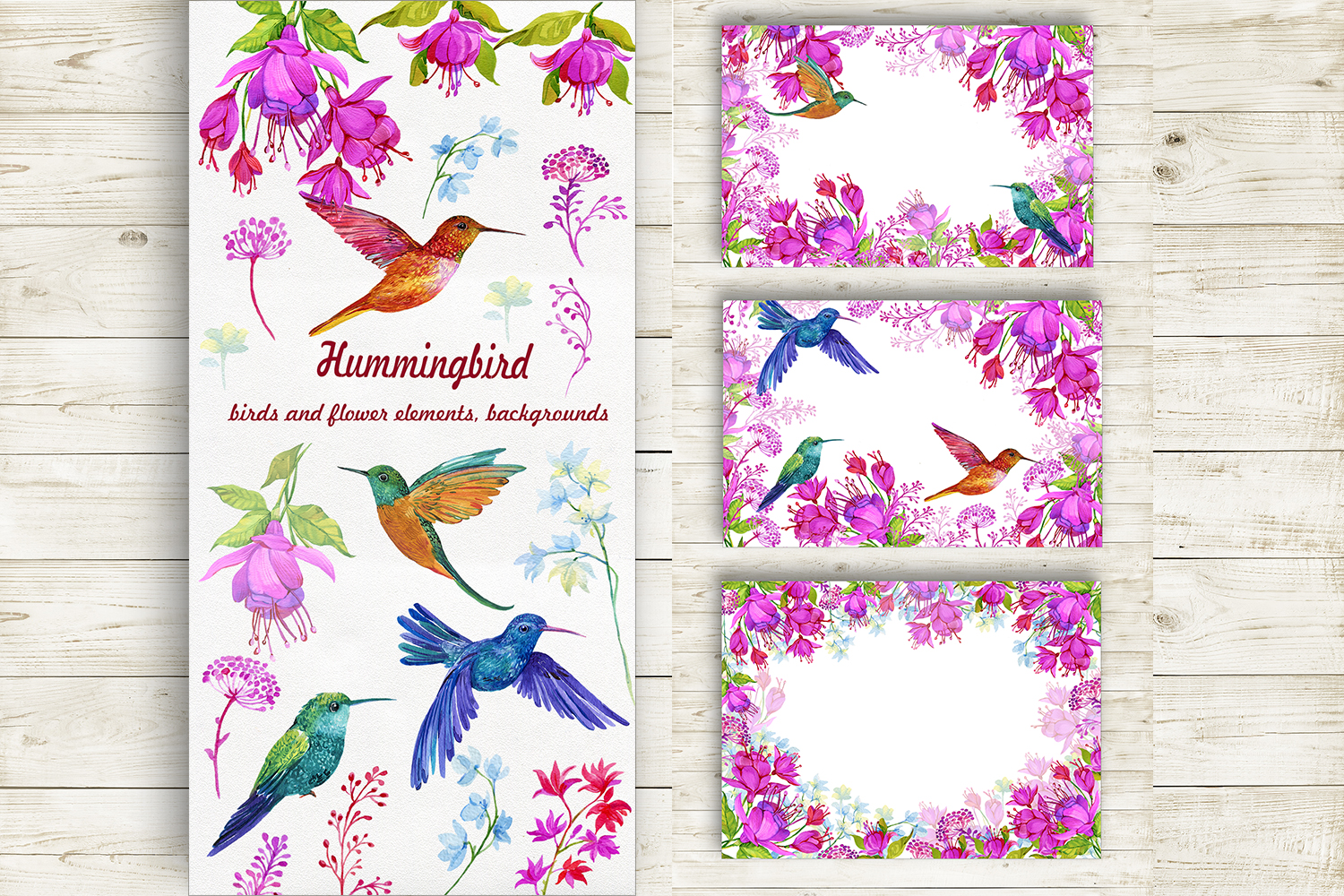 Hummingbirds Clipart flowers. PNG watercolor painting, Birds example image 2