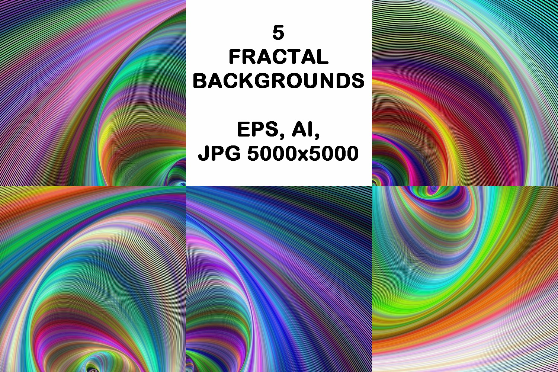 5 fractal design backgrounds (AI, EPS, JPG 5000x5000) example image 1