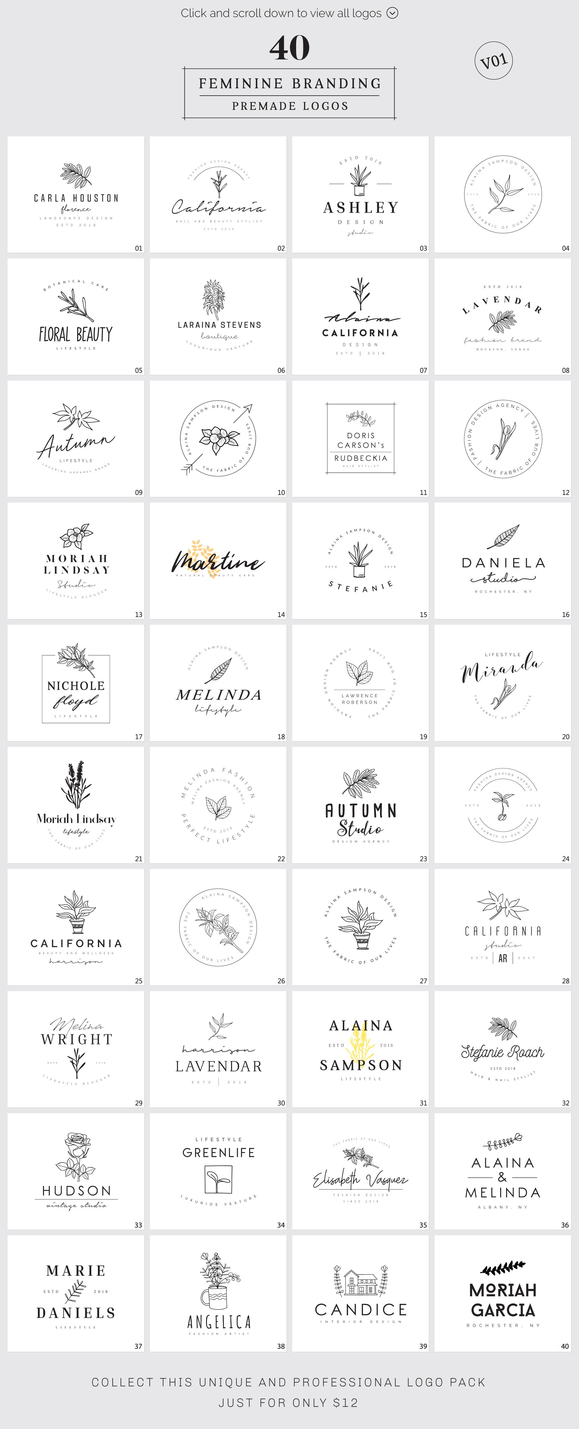 Feminine Branding Premade Logos V01 example image 3