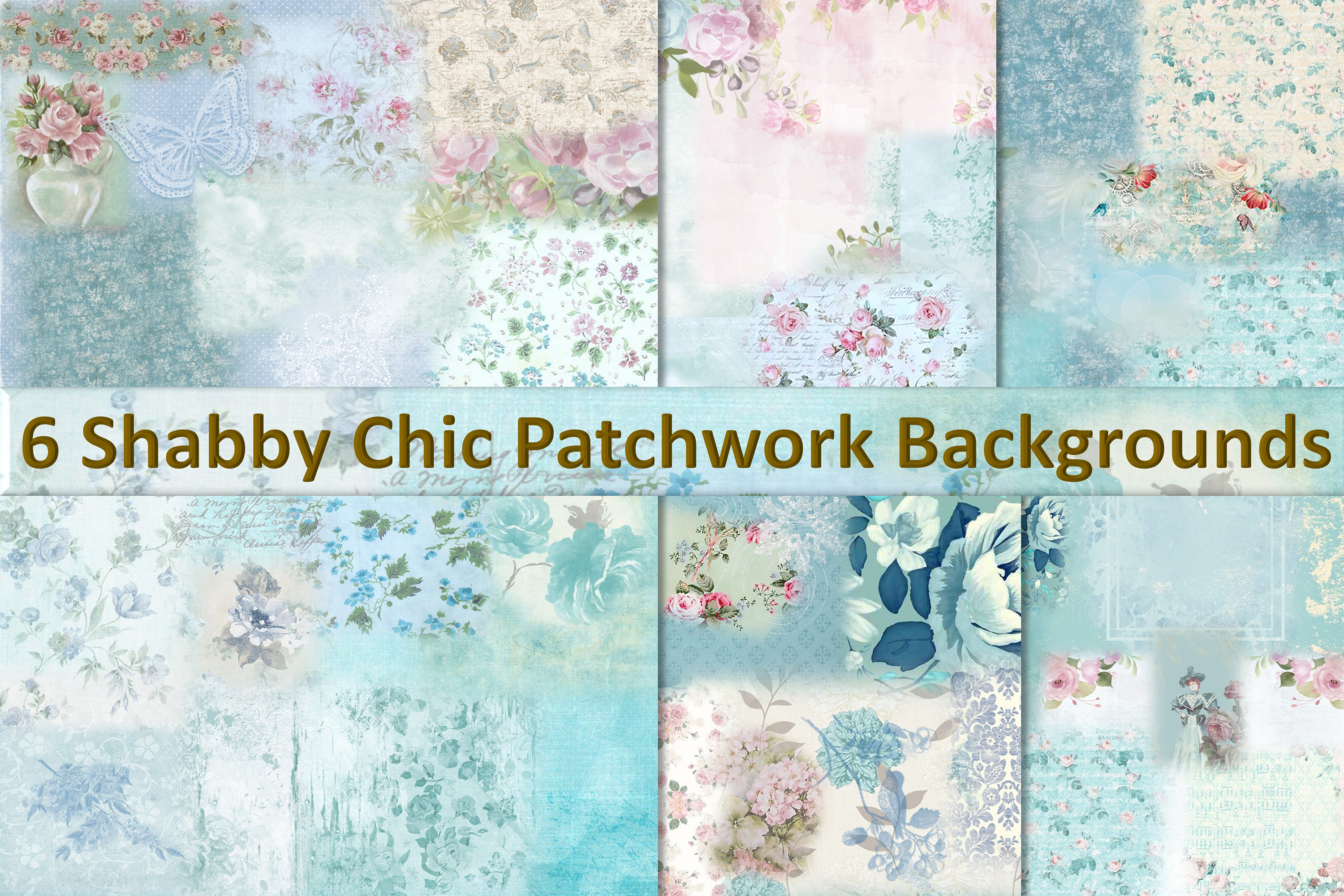 6 Shabby Chic Vintage Printable backgrounds PDF example image 1