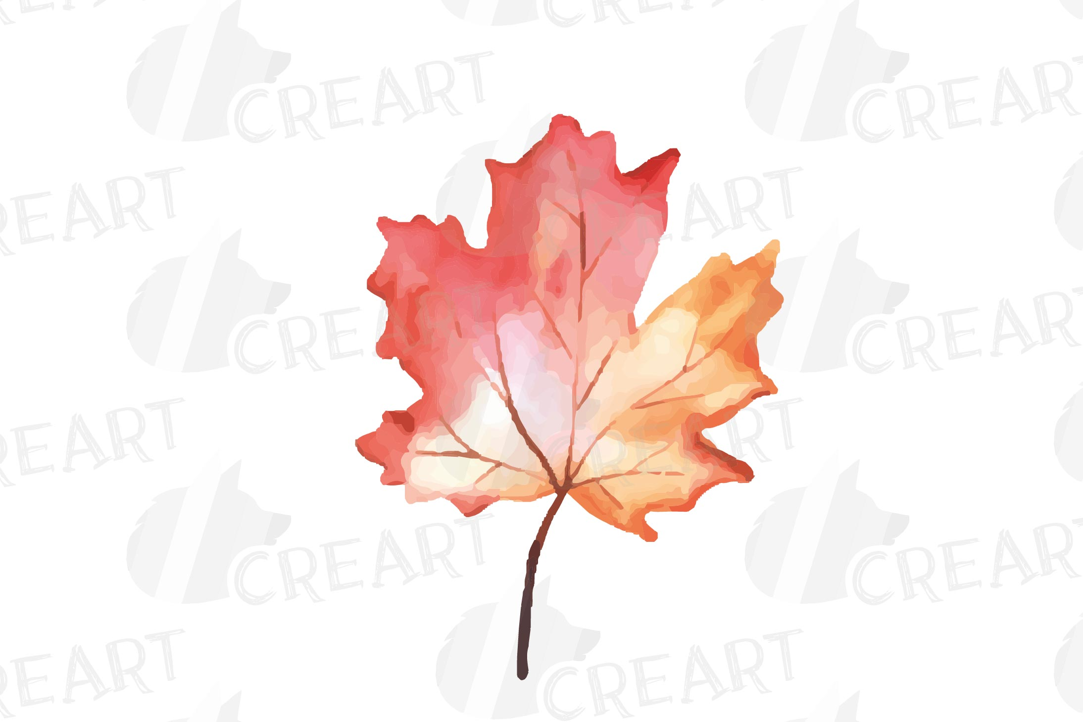 Printable autumn leaves watercolor decoration clip art pack. example image 9