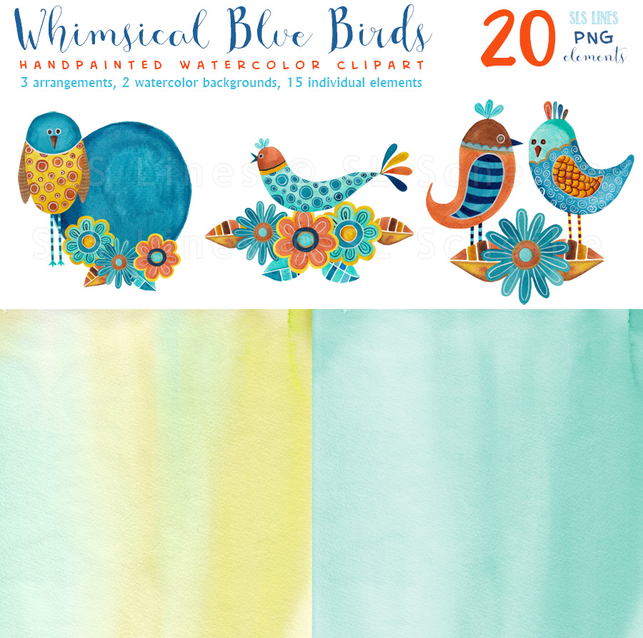 Whimsical Blue Birds Watercolors, PNG example image 2