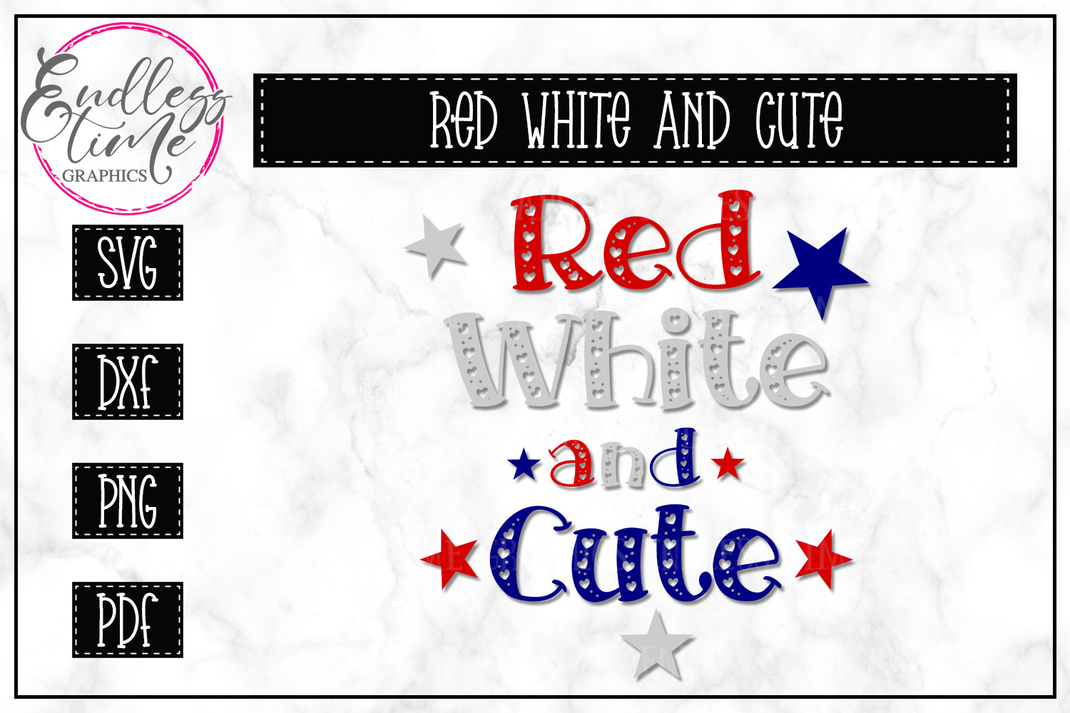 Red White and Cute- Patriotic SVG Cut File example image 1