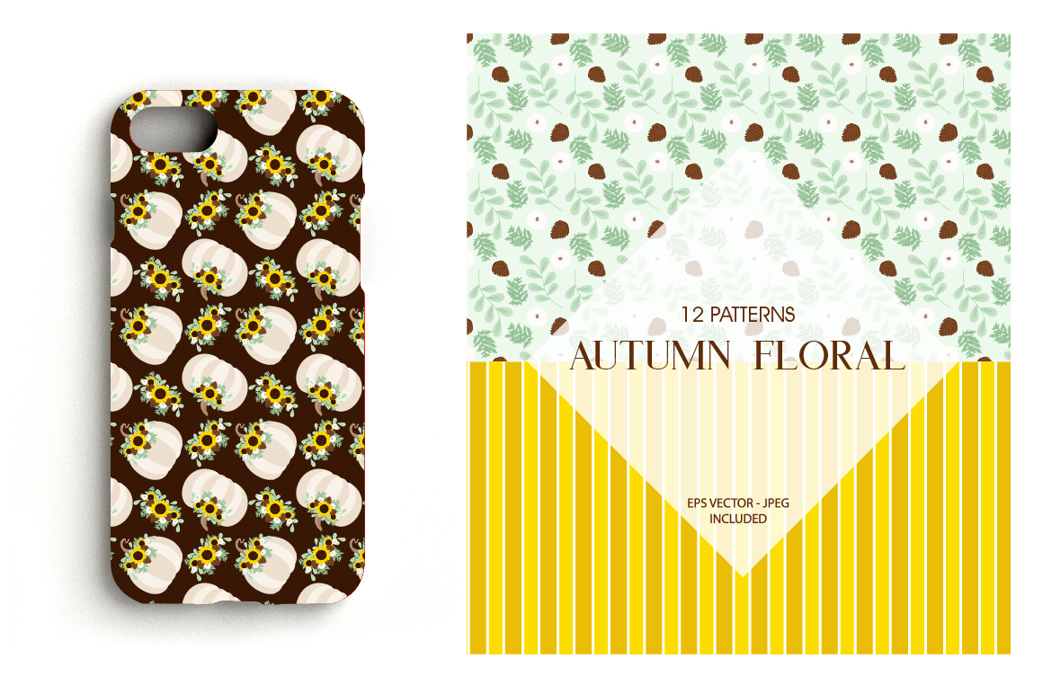 Autumn Floral Pattern collection, vector ai, example image 4