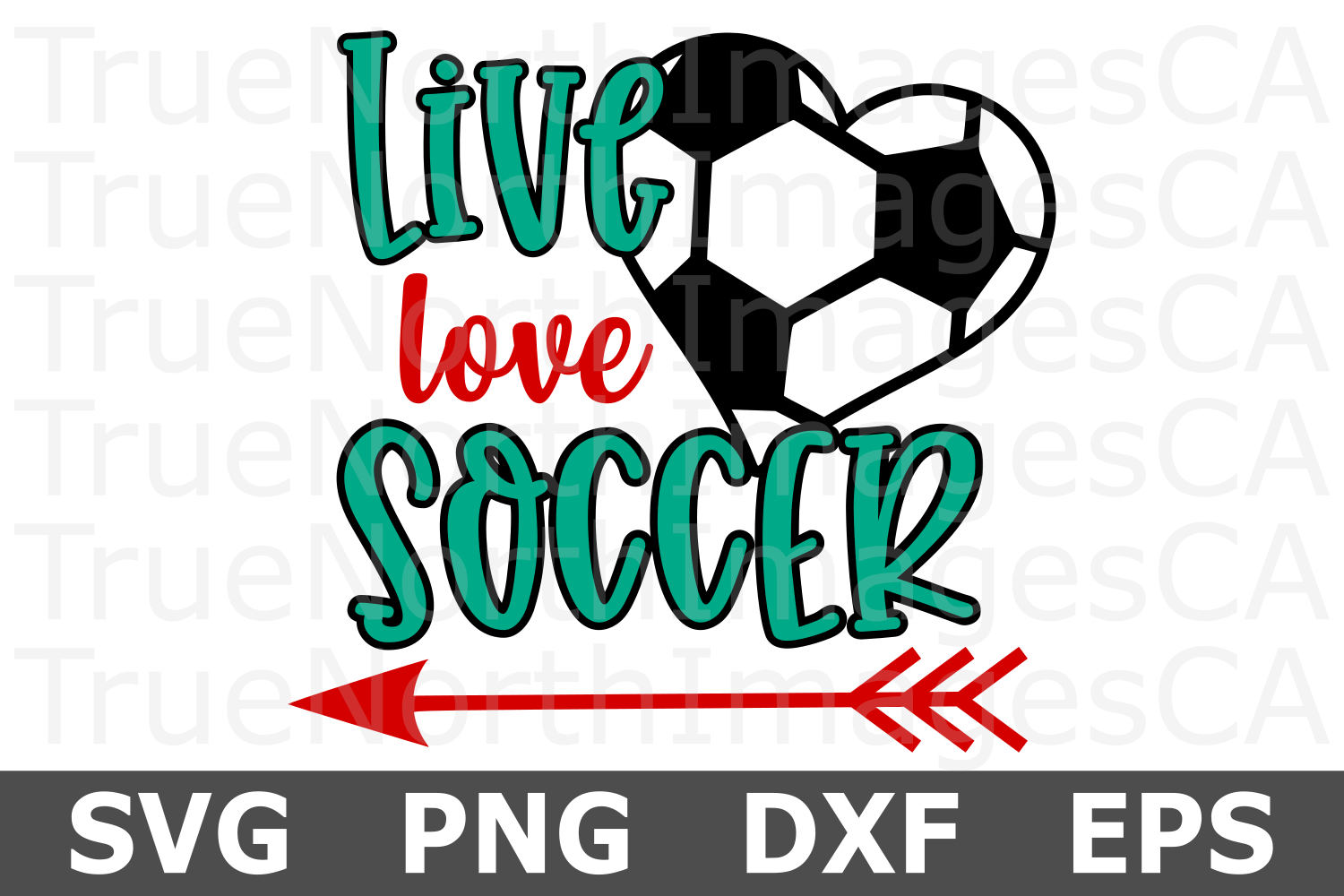 Live Love Soccer Heart - A Sports SVG Cut File example image 1
