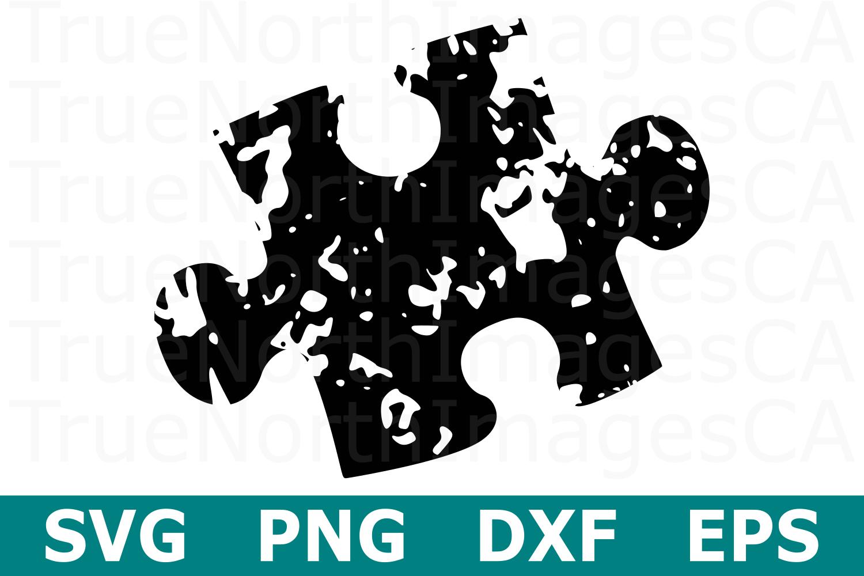 Grunge Puzzle Piece - An Autism Awareness SVG Cut File example image 2