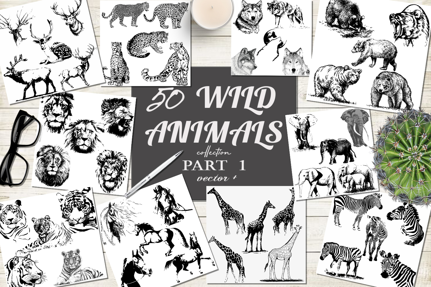 50 wild animals hand drawn silhouette vector illustrations example image 1