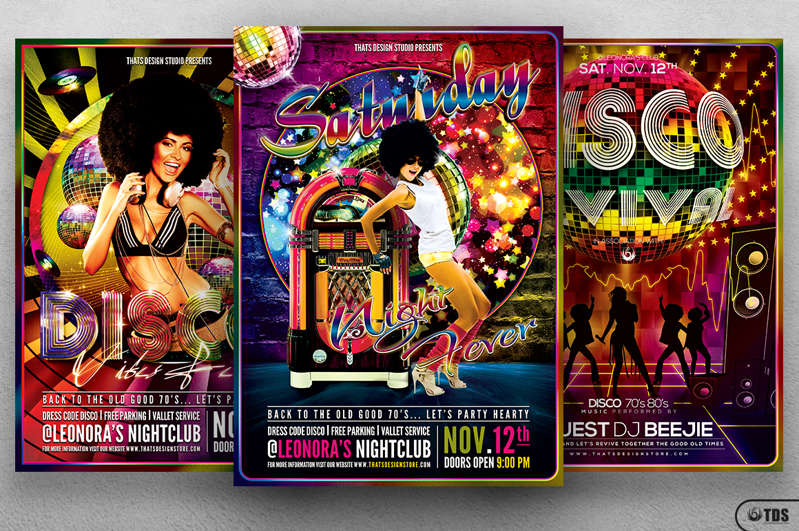 Disco Music Flyer Bundle V1 example image 2