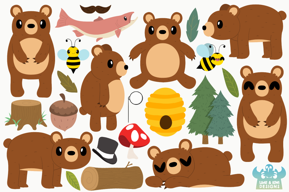 Bear Boys Clipart, Instant Download Vector Art example image 2
