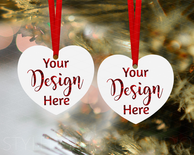 Christmas Heart Ornament Mockup Bundle, Bauble Mock Up, JPG example image 3