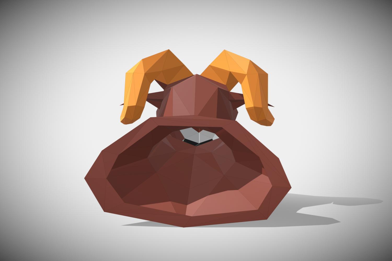 RAM DIY Paper Sculpture Animal head Trophy example image 5