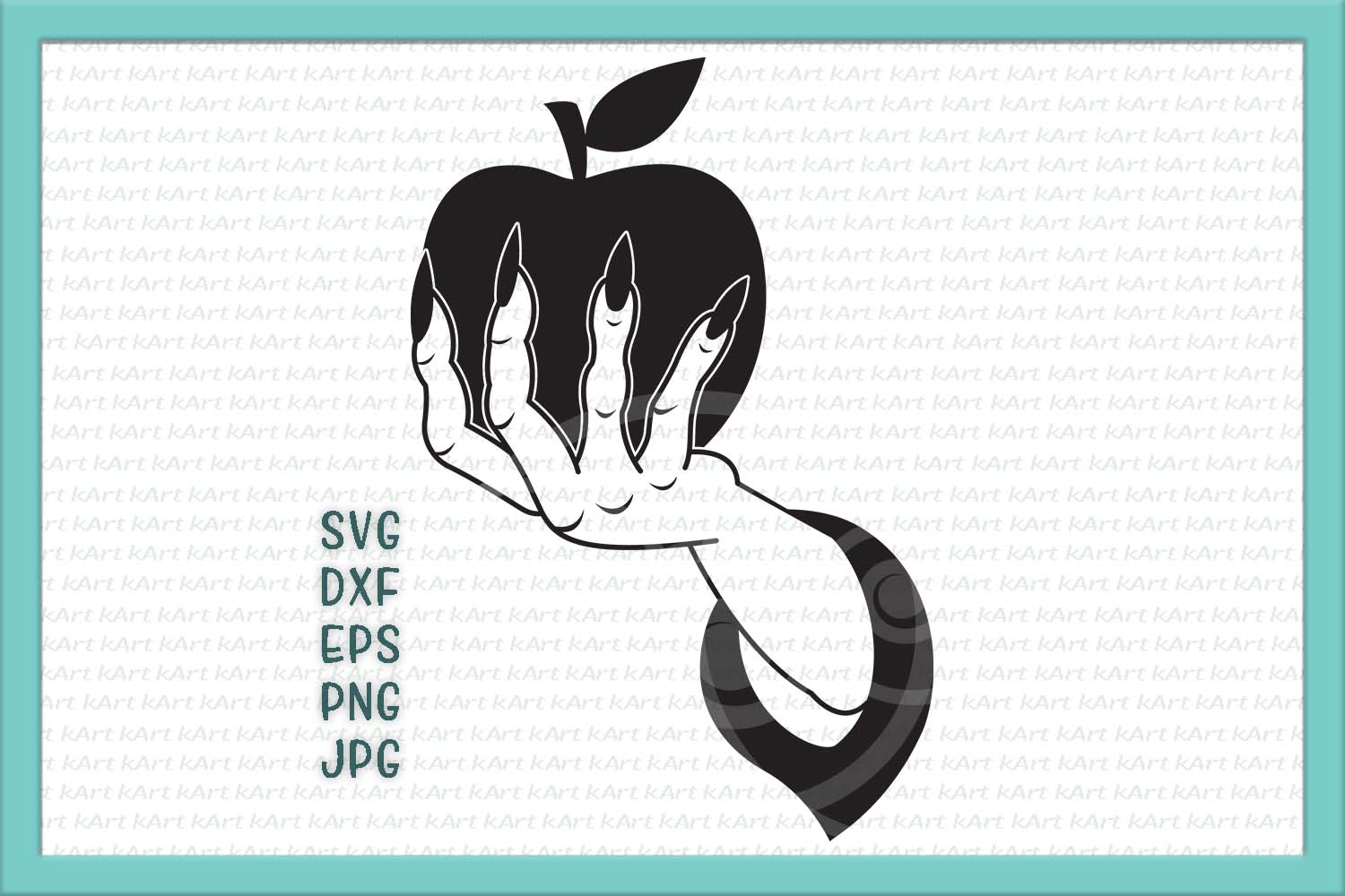 Witch hand with apple svg Halloween plotter cutting design example image 1