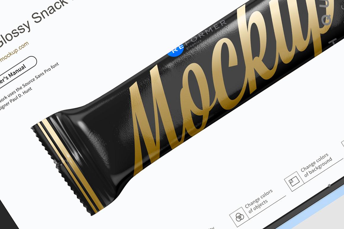 Black Glossy Snack Bar Mockup example image 3
