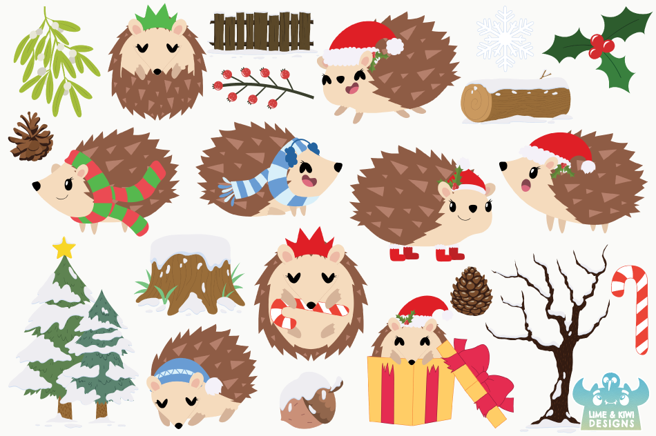 Christmas Hedgehogs Clipart, Instant Download Vector Art example image 2
