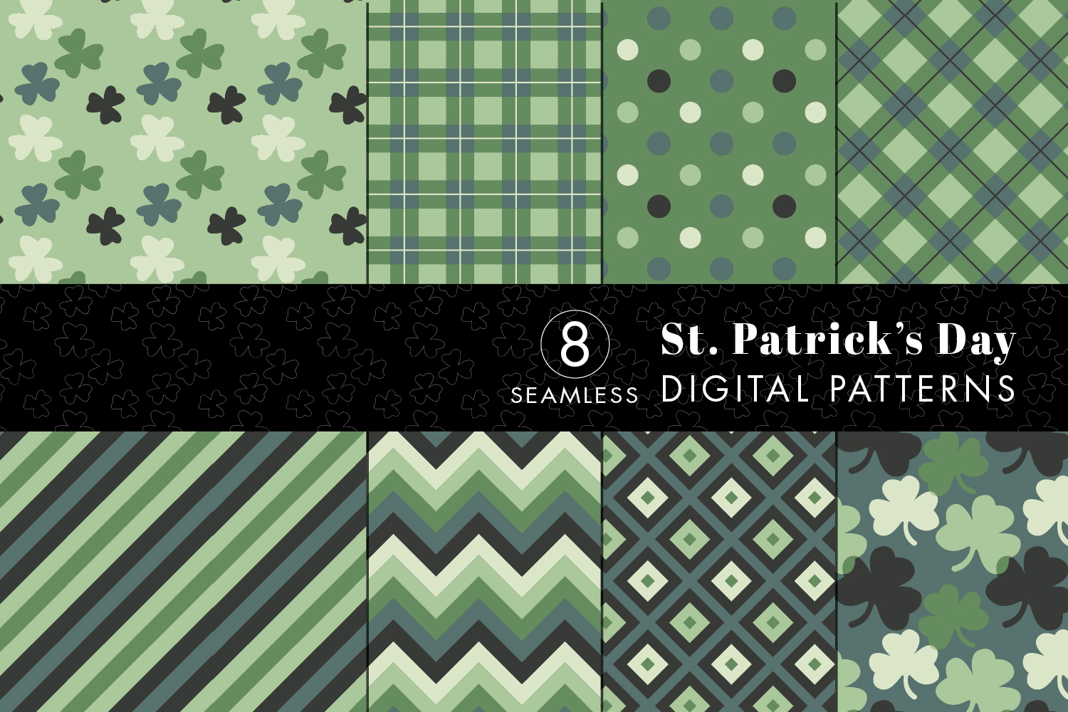 8 Seamless St. Patrick's Day Patterns Set 3 example image 1