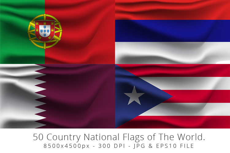 Realistic waving 50 Country National Flags of The World. example image 10