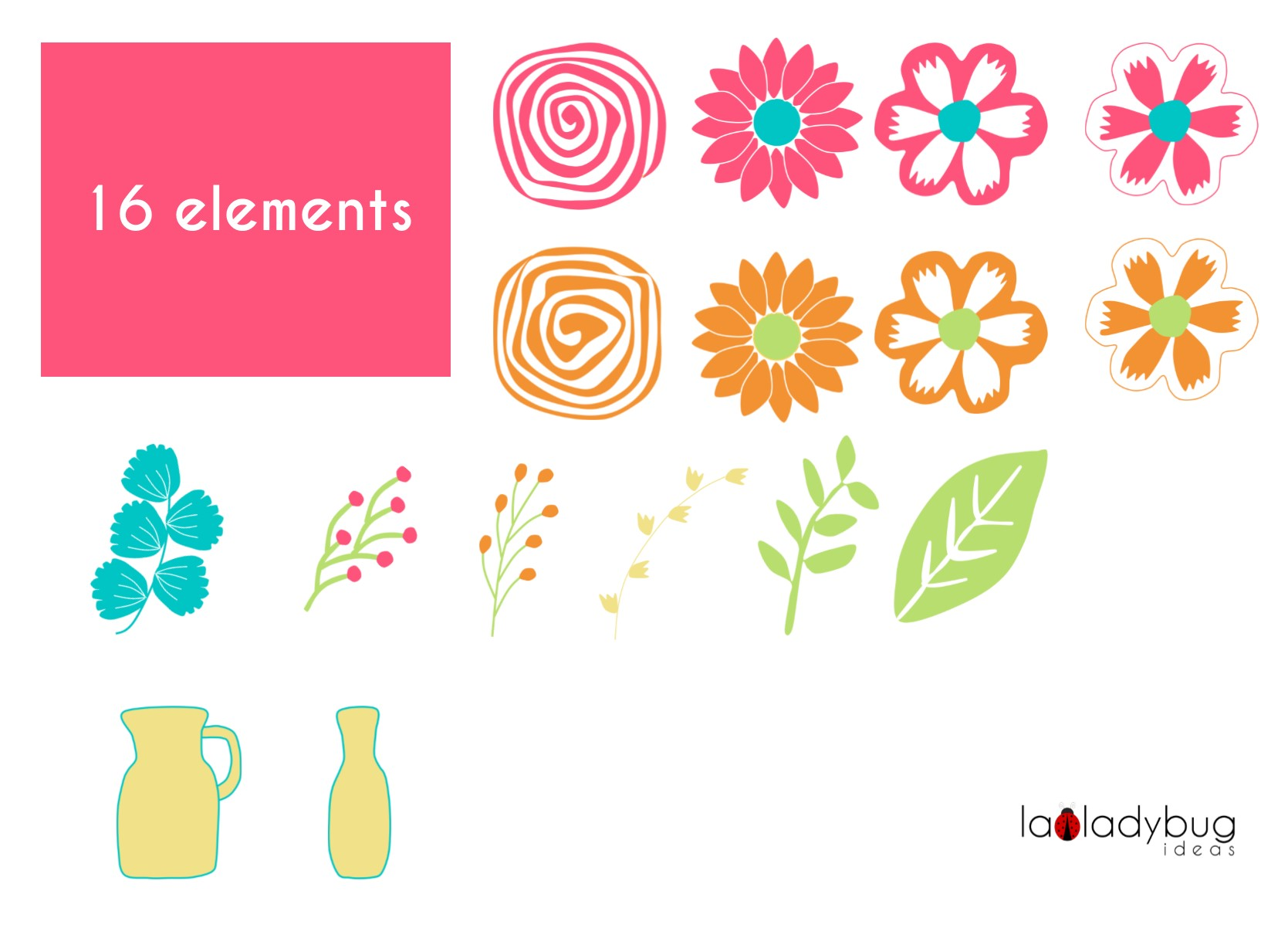 Summer colors flowers. Clip art and digital papers collection. example image 2