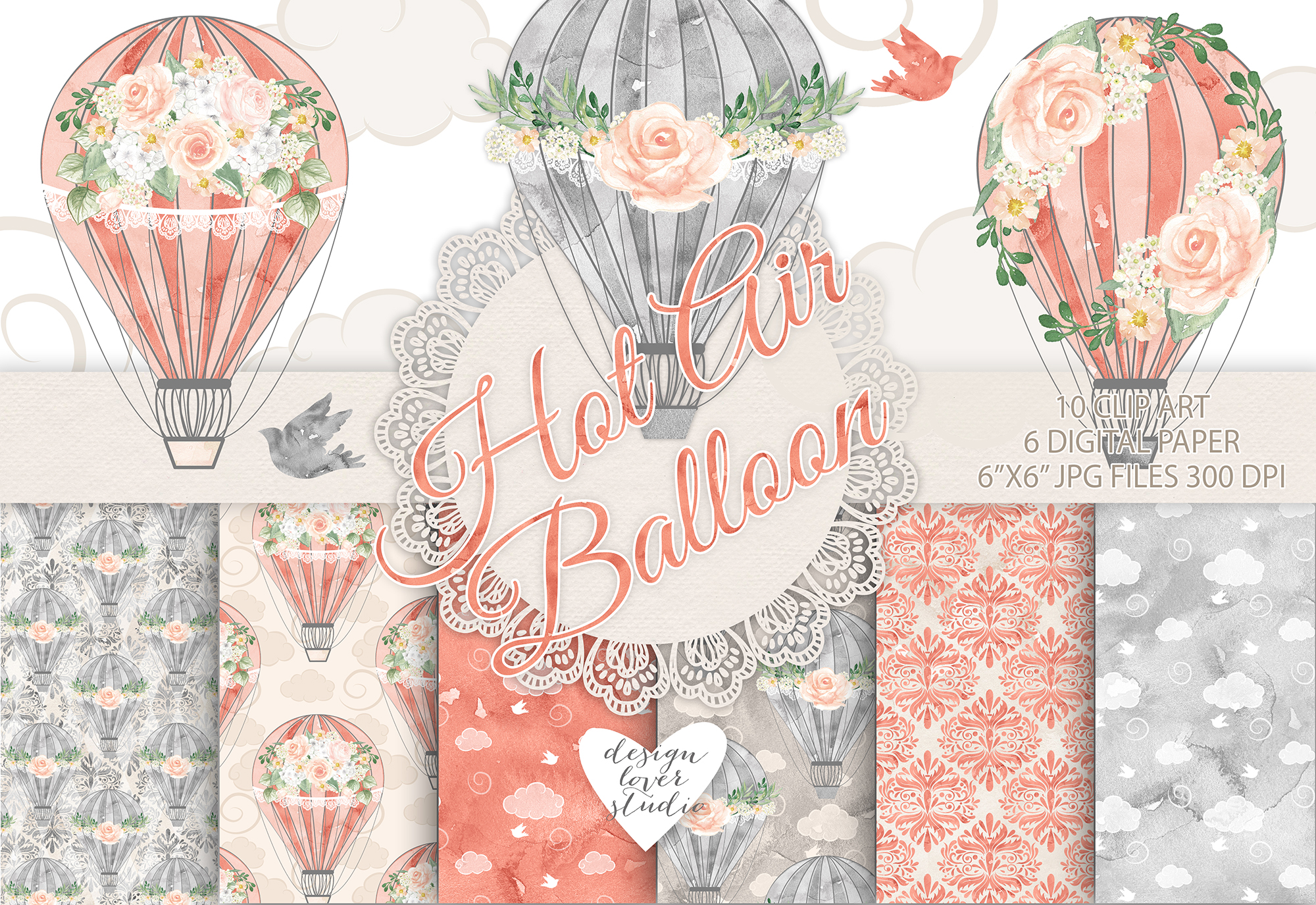 Watercolor Hot Air balloon flowers pack example image 1