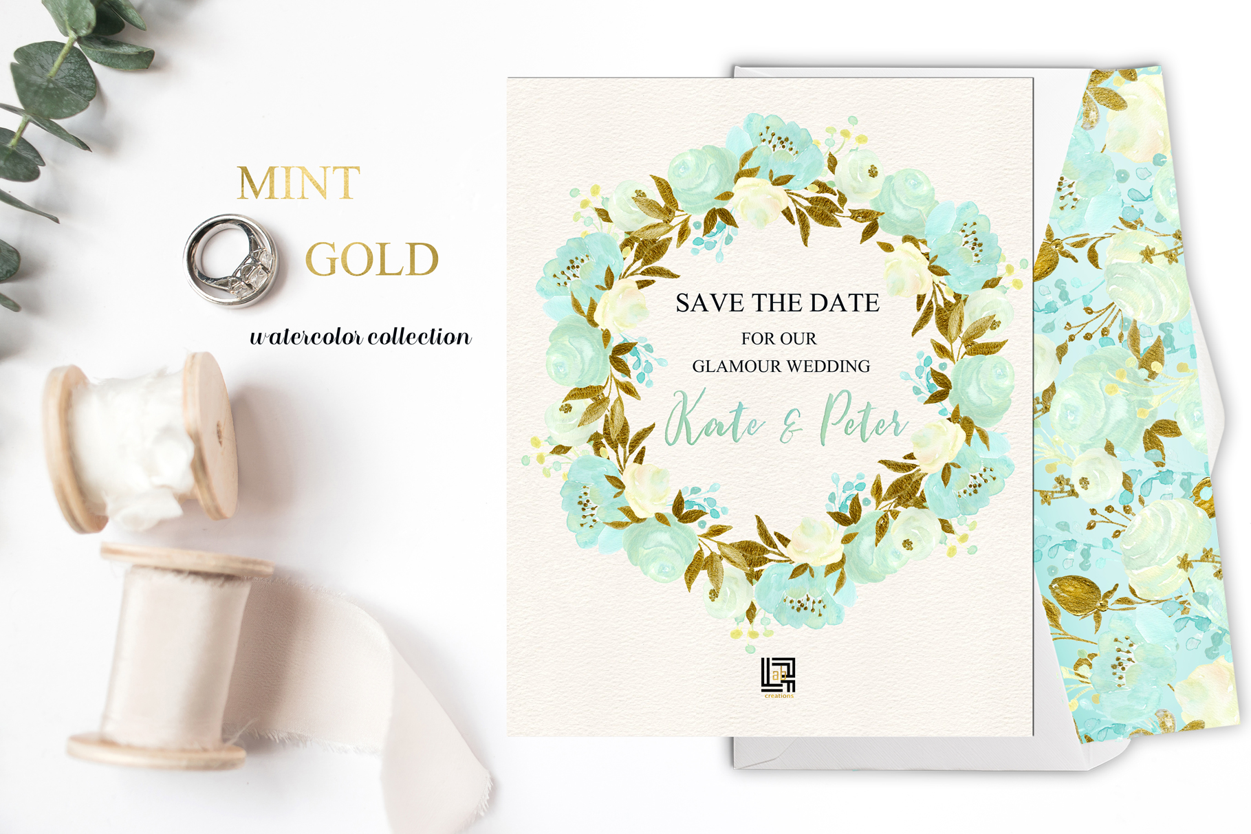 Mint and Gold. Watercolor floral clipart. example image 5
