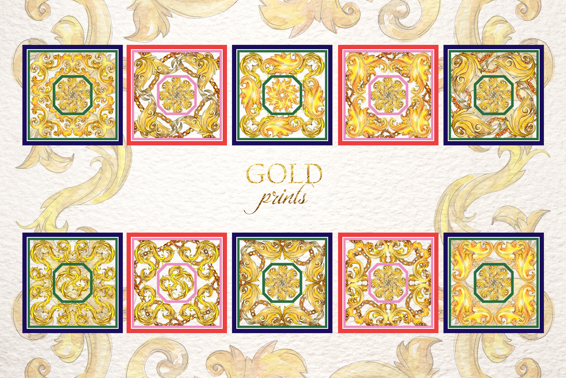 Gold monograms Watercolor png example image 7