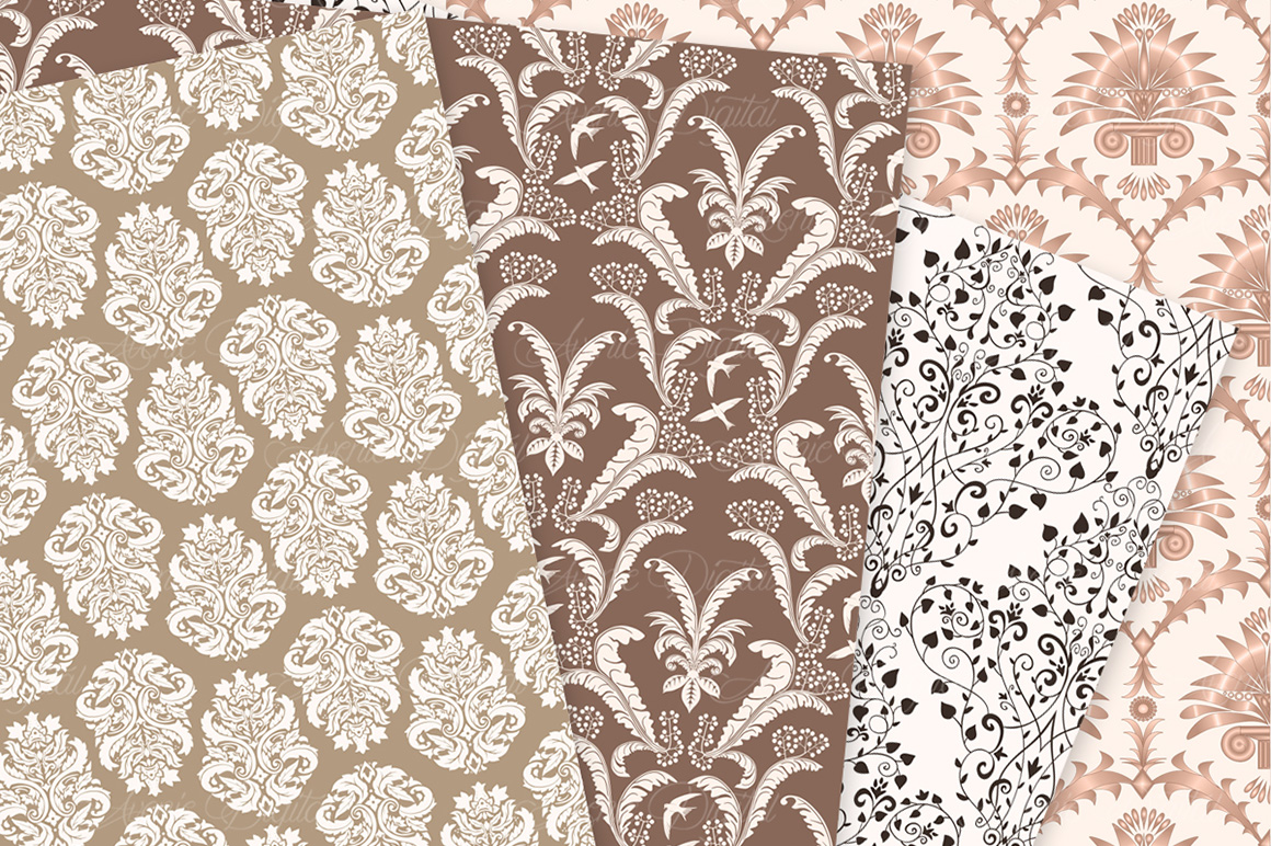Brown Damask Patterns - Seamless Digital Papers example image 5