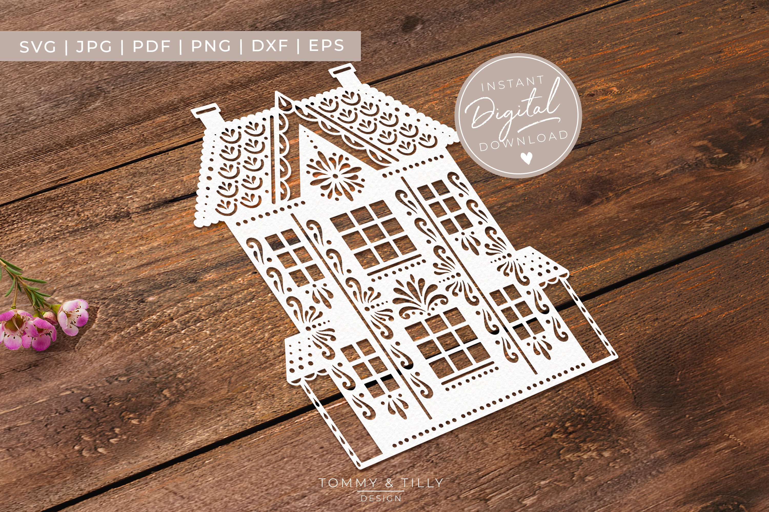 Intricate House No.1 - SVG EPS DXF PNG PDF JPG Cut File example image 3